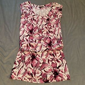 BCBGMaxAzria Purple Floral Drop Waist Dress EUC S